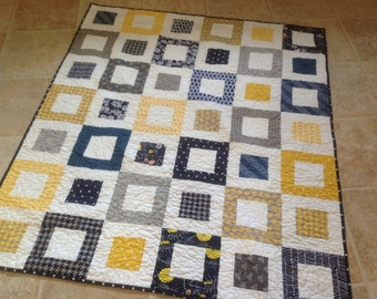 MaDe To OrDeR -- Navy, Yellow, Grey Lap or Baby Quilt-- pattern also available