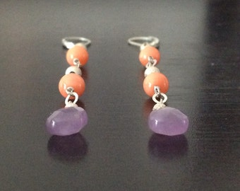Amethyst and Coral Linear Earrings