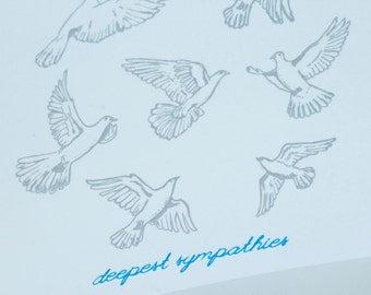 SALE - Sympathy Letterpress card - Doves - 60% off