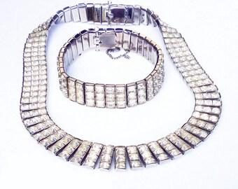 Rhinestone Necklace Bracelet, Channel Set, Diamante Sparkly, Silver Tone, Unsigned Joseph Wiesner, Bride Bridal, Vintage Jewelry