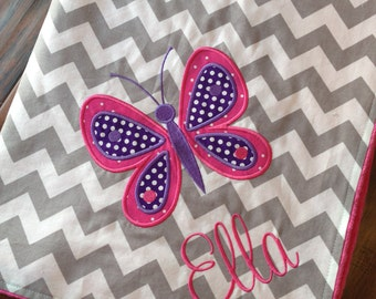 Personalized Baby Blanket- Butterfly Baby Blanket- Chevron Minky Blanket- Applique Baby Blanket- Custom Blanket-