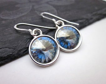 Blue & Silver Dangles -- Light Blue Crystal Earrings -- Pale Blue Earrings -- Grey Blue Dangles -- Light Blue Swarovski Earrings