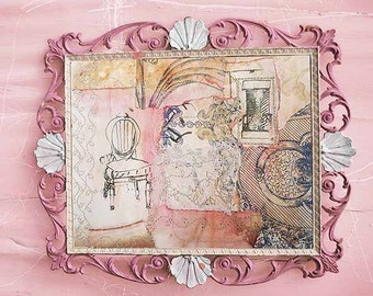 French Collage. French Shabby. French wallpaper. Mixed Media. La Chaise Asnieres 2. Mixed Media Collage. Rose Pinks. Vintage Wallpapers.