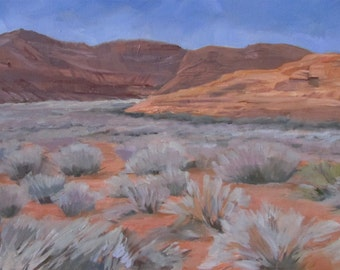 "Redrock and Sage 12"" x 24"" Original Oil Painting"