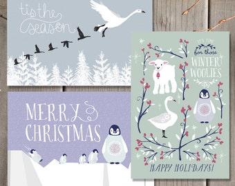 Winter Animals Holiday Postcard Set / Christmas card set  / Printable Merry Christmas Card