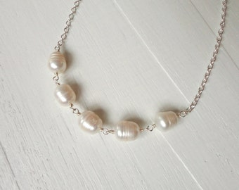 Large pearl necklace white freshwater pearls chain necklace for women