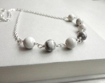 White stone necklace women howlite necklace minimalist chain necklace women