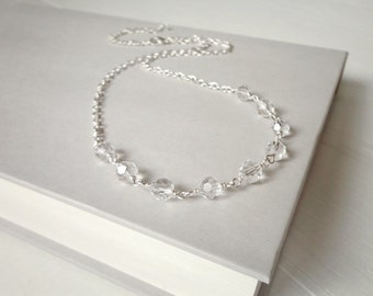 Sparkly necklace glass bead necklace minimalist chain necklace for women