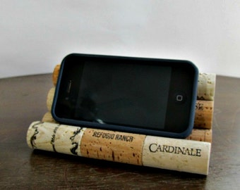 Wine Cork iPhone / Smart Phone / iPod / Tablet Stand / Holder - Desk Accessory, Office Decor, Storage, Organization