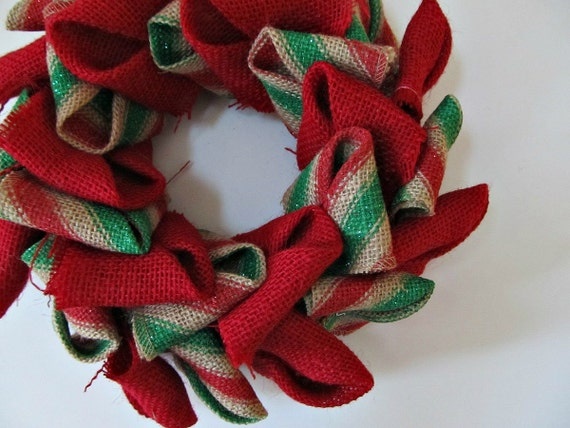 Candle ring red and green stripe burlap petal wreath jar candle