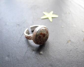 Asteroid jasper  ring, size 8  adjustable, boho design, sterling silver ring, spring ring, one of a kind