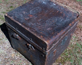 Vintage Antique Leather Box Suitcase Unique Steamer Trunk with brass rivets and embossed designs (50 % OFF APPLIED)