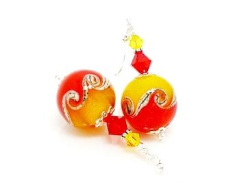 Red & Yellow Wave Earrings, Colorful Earrings, Lampwork Earrings, Glass Earrings, Glass Bead Earrings Lampwork Jewerly Beadwork Earrings