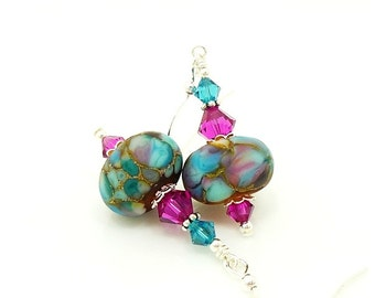 Colorful Earrings, Blue and Hot Pink Earrings, Lampwork Earrings, Glass Earrings, Glass Beads Jewelry, Unique Earrings, Beadwork Earrings