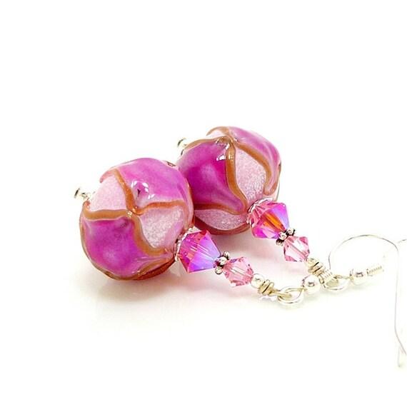 Pink Earrings, Lampwork Earrings, Pink Glass Earrings, Glass Bead Earrings, Hot Pink Earrings, Beadwork Earrings, Glass Art Earrings