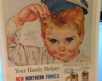 All American Boys circa 1961 Northern Towels print ad large.Baseball