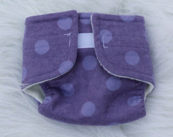Baby Doll Diaper Big Purple Dot - Size Large