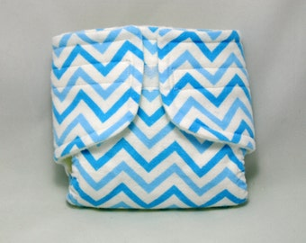 Baby Doll Diaper Blue Chevron - Size Large
