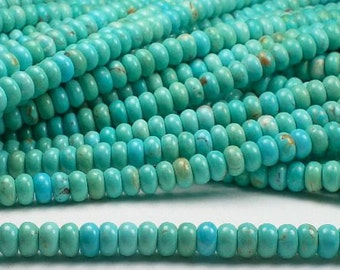 6mm Natural Turquoise Beads Rondelle Beads Soft Blue Green Half Strand