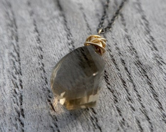 Spiral Faceted  Smokey Quartz Drop Necklace -  Ready To Ship