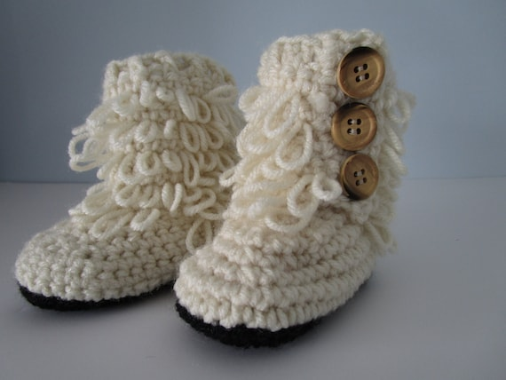 Baby Ugg Boots fits 6-12 Months crochet boots by ...