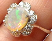 sz 7,Welo Opal Ring,Ethiopian Opal,Sterling Silver, Flower Design,Semi-Transparent,Natural Gemstone,Color Play Stone,Peach,Yellow,Green,Blue