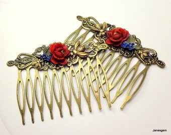 Red Rose Hair Jewelry, Antiqued Brass, Hair Combs,Honey Bee Combs,Flower Hair Jewellry,Bride,Bridesmaid,Wedding Accessories,Vintage Style