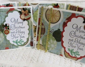 Merry Christmas and Happy New Year Handmade Set of Five Christmas Cards with Ornaments, On Clearance
