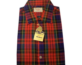 Vintage 1950s Red North Sea Plaid Marlboro men's Shirt Size Large DEADSTOCK Never Worn NOS