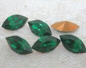 10x5 mm Machine Cut Preciosa Emerald Green Glass Navette Qty 6