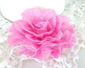 1 pc BUBBLEGUM PINK Large Puff Shabby Chic Frayed Wrinkled Cotton Voile and Tulle Rose Fabric Flower