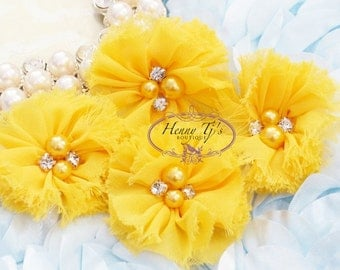 "4 pcs Aubrey Round - 2"" BRIGHT YELLOW Soft FRAYED Chiffon with pearls and rhinestones Mesh Ruffled Small Fabric Flowers, Hair accessories"