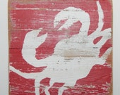 Shabby Chic Wall Art, Crab on Reclaimed Picket Fencing Wood