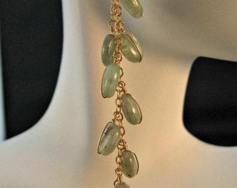 Prehnite gemstone earrings, gold earrings, prehnite earrings, gemstone earrings,dangle earrings,drop earrings,cluster earrings,gold earrings