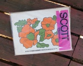 1970s Vintage Scott Paper Placemats with Bold Orange Flowers in Original Package of 24, New Old Stock