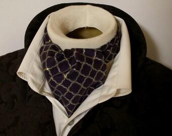 LAST ONE Pure Cotton -  Deep Navy Regency Lattice - DAY Cravat Victorian Ascot Tie Cravat