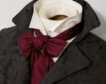 Slim REGENCY Brummel Victorian Ascot Tie Cravat - Maroon Wine Dupioni Silk