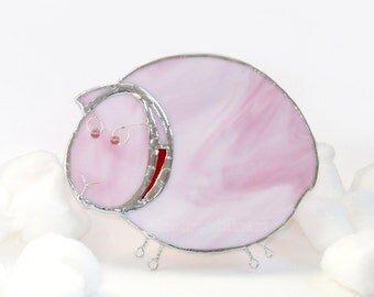 Pink Sheep Night Light Stained Glass Handmade OOAK Kids Nursery