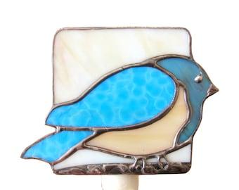 Blue Bird  Glass Night Light Beige Stained Glass Bluebird Nightlight Handmade OOAK