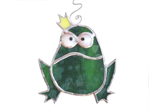 Frog Stained Glass Suncatcher Green Frog Prince Christmas Tree Ornament Handmade OOAK