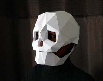 Skull Mask with Moving Mouth - Low Poly Mask Pattern Uses Just Paper and Glue! | Halloween Mask | Dia de Los Muertos
