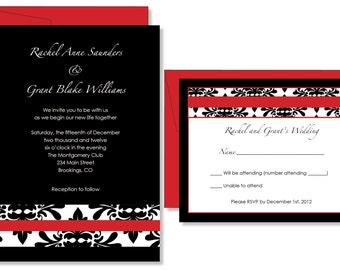 Dramatic Red Damask Bridal Shower Wedding Invitations