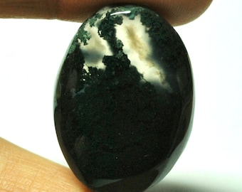 Natural Moss Agate Oval Cabochon - 30.8 x 22.2 x 7.0 mm - 39.3 ct - 150110-37