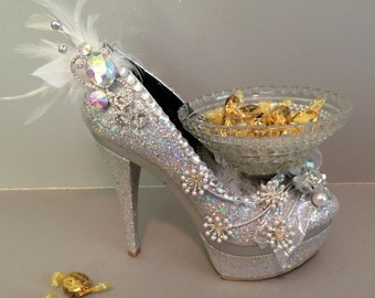 Shoe Candy Dish Silver Princess Platform