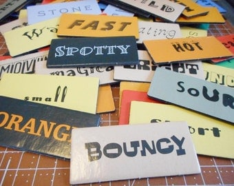 25 Vintage Chipboard Word Tiles from the 1970s