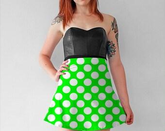 Green White Polka Dot Skirt