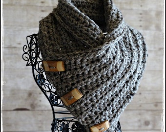 CROCHET PATTERN The Bitterroot COWL Scarf  with Wood Buttons Boutique Design - No. 69 by AngelsChest