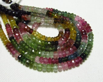 Excellent - High Quality So Gorgeous Multy Color - Watermelon - TOURMALINE - Micro Cut Faceted Rondelle Beads size 6 mm approx - 14 inches