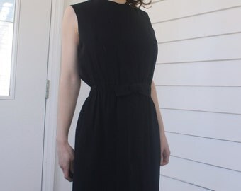 60s Black Dress Jonathan Logan Sleeveless Vintage 1960s Cocktail Party S