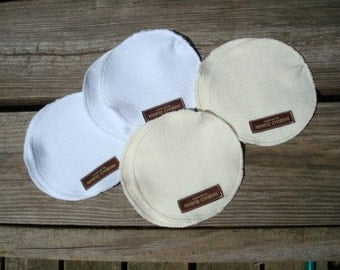 Large Ecofriendly, Organic Cotton Reversible Cloth Waterproof Nursing Pads  - Two Sets - Extra Coverage - 212C